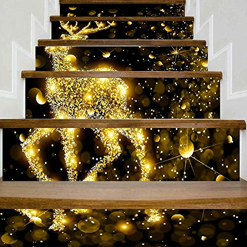 Christmas Tree Decorations Clearance,Jchen(TM) Merry Christmas Home Decor DIY Christmas 3D Stair Stickers Waterproof Wall Stickers (B)]()
