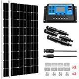 SUNGOLDPOWER 200 Watt 12V Monocrystalline Solar Panel Module Kit:2pcs 100W Mono Solar Panel Solar Cell Grade A +20A LCD…