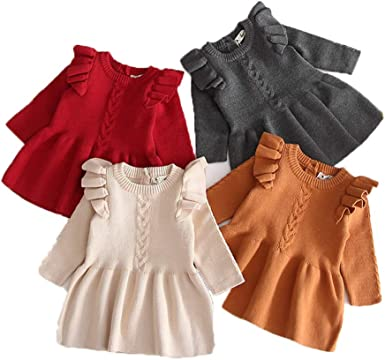 Misunderstanding bite like that  Amazon.com: HALIGHT Baby Girls Knitted Dress Solid Color Crewneck Ruffle  Toddler Long Sleeve Tunic Pullover Dresses: Clothing