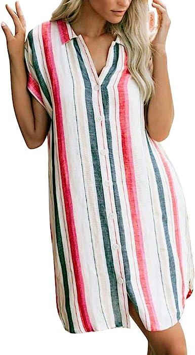 Sylar Vestidos Mujer Casual Largos Verano Vestidos De Mujer Manga Corta con Estampado Rayas Vestidos Playa Mujer Botóns T Camisa Midi Vestido Skater Suelto: Amazon.es: Ropa y accesorios