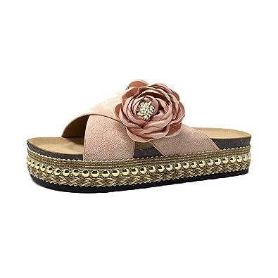 46de43108351b2 Angkorly - Chaussure Mode Mule Tong Folk/Ethnique Claquette Grosse Semelle  Femme Noeud Perle tressé