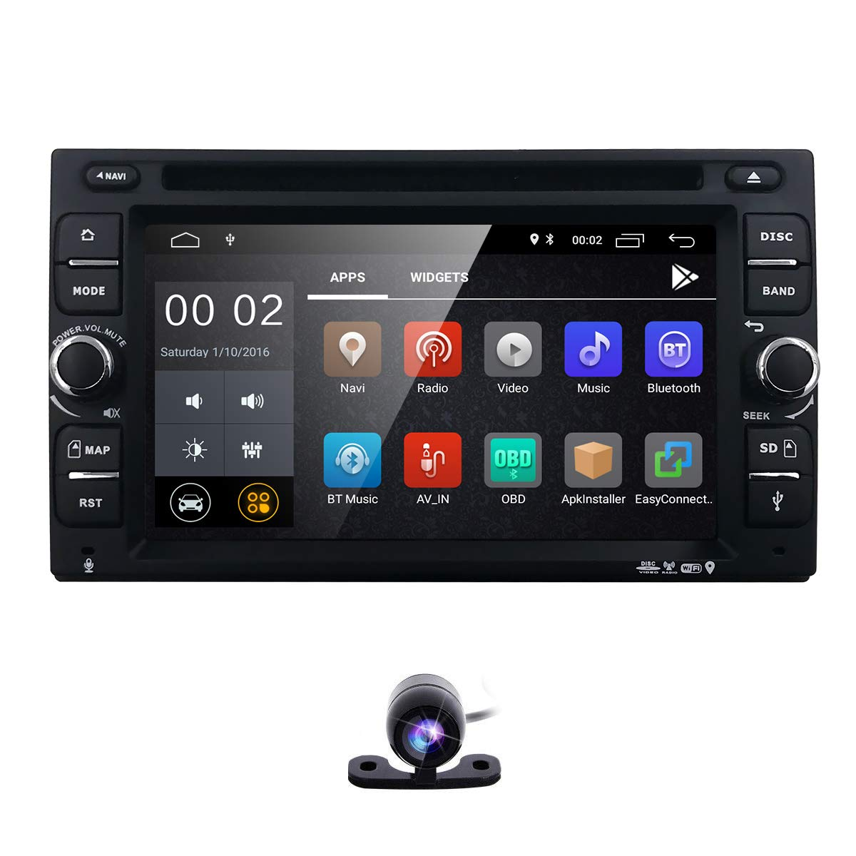 Backup Camera + Best WiFi Android 8.1 Quad-Core 6.2 Inch Touch-Screen Universal Car DVD CD Player GPS Double 2 din Stereo GPS Navigation Free Map