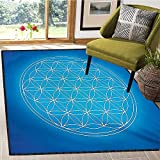 Sacred Geometry, Bath Mats for Floors, Flower of Life Grid Pattern Consisting of Types Overlapping Circles Theme, Bath Mat Non Slip 6x8 Ft Blue White