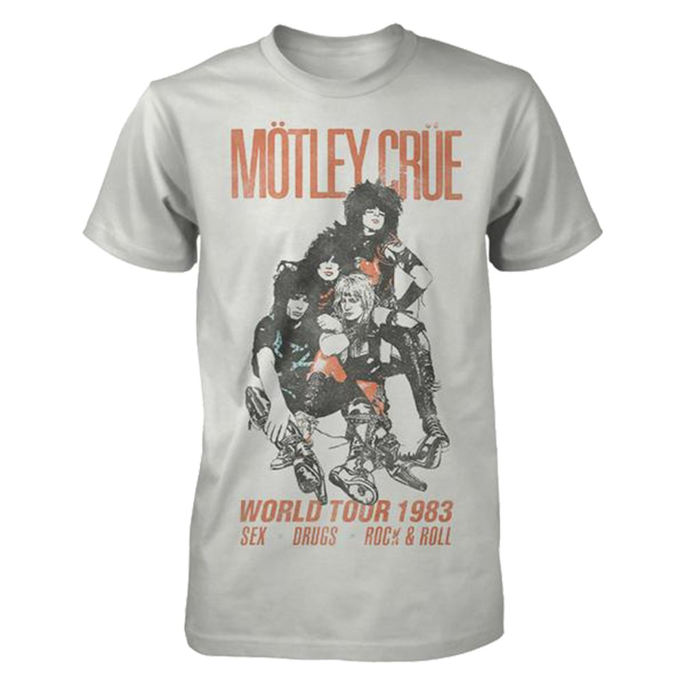 Motley Crue S Vintage World Tour 1983 Tshirt Silver M