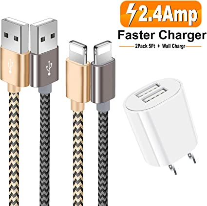 Amazon.com: Cargador de teléfono, paquete de 2 cables de ...