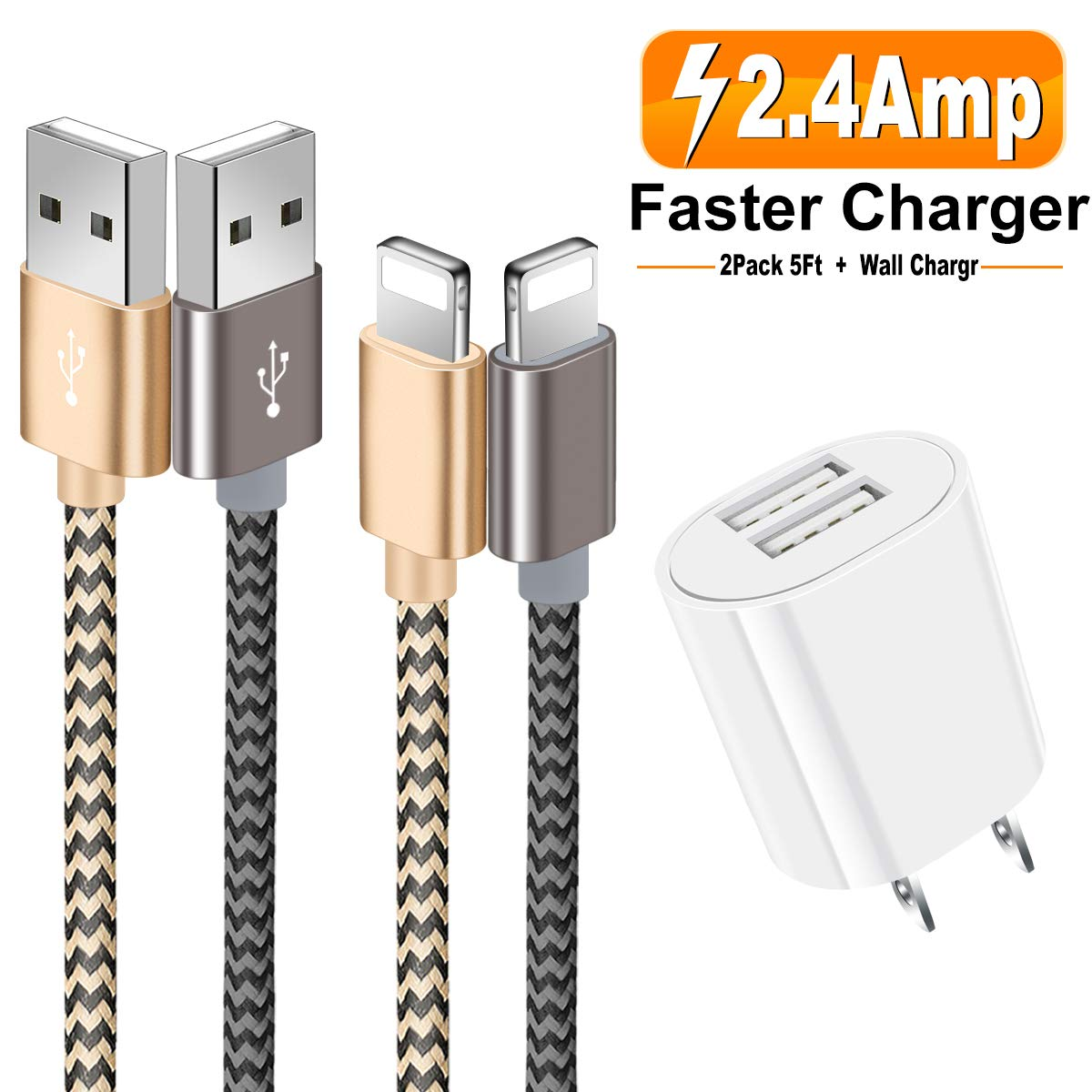 Phone Fast Charger, 2-Pack 5Ft/1.5M Nylon Braided Phone Charging Cable Data Sync Transfer Cord