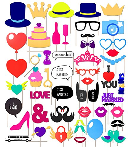 Wedding Photo Booth Props Kit, 53pcs Bridal Shower Party Favors Girls Night Out Games Photo Prop Decorations Costume Dress-up accessories, Mustache Hats Glasses Kiss Swan Heart - Glasses Photo For Printable Booth