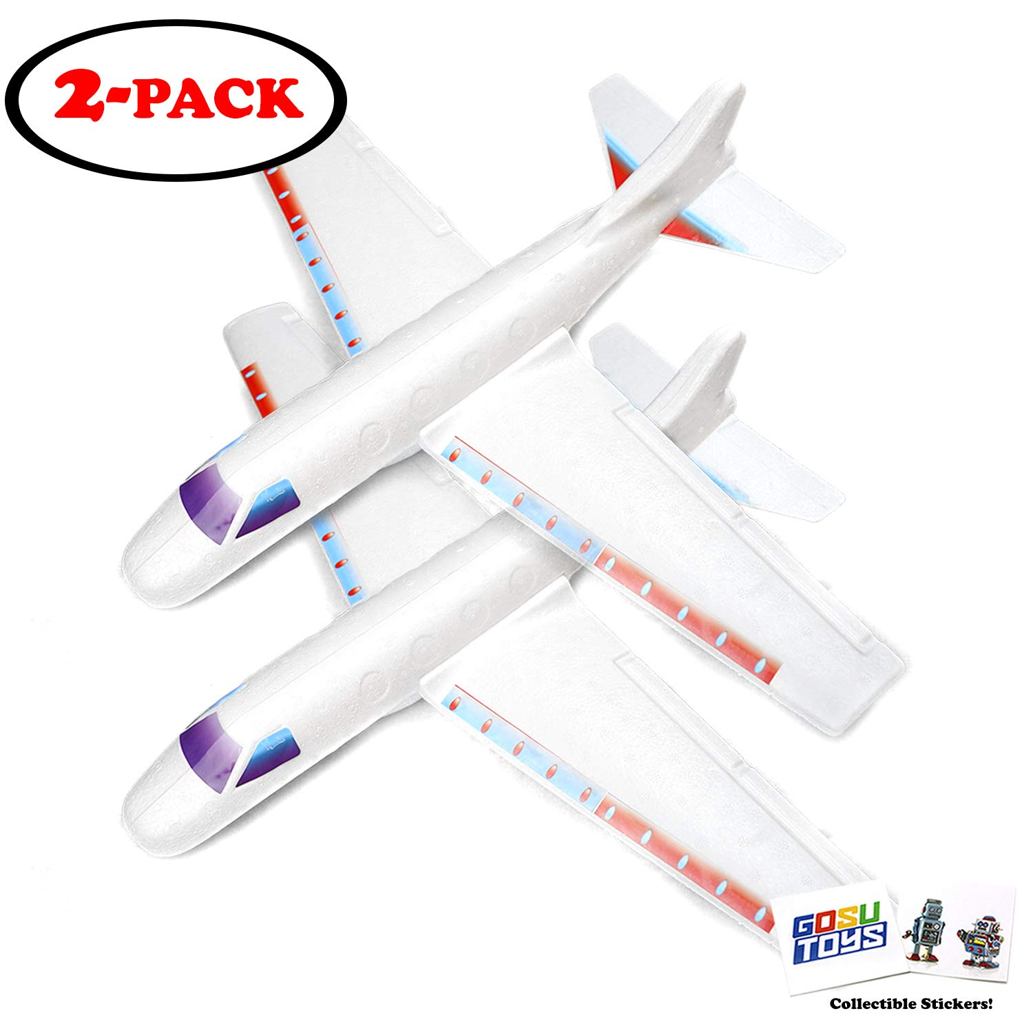 22 Giant Airplane Glider for Kids with 2 GosuToys Stickers - Flying Toy Build It, Throw It and Watch It Glide - Hours of Outdoor Fun