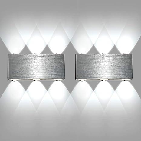 Lightess 6W Applique da Parete Interni Lampada a Muro Applique Moderna LED  in Metallo per Decorazione Soggiorno Camera da Letto Bagno Colore Bianco ...