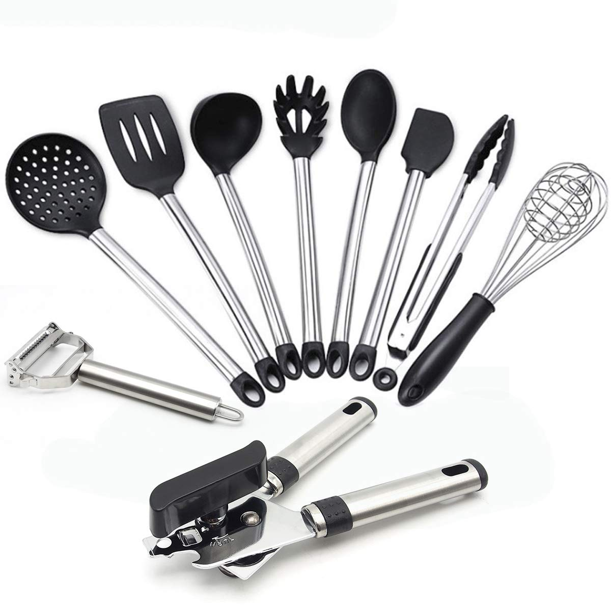 10 Pieces Kitchen Utensils Set,Stainless Steel and Nonstick Silicone Cooking Tools,Ladle, Strainer,Whisk,Spatula Tools,Serving Tongs,Spoon,Pasta Server,Flex Spatula,Can Opener,Vegetable Peeler FXY