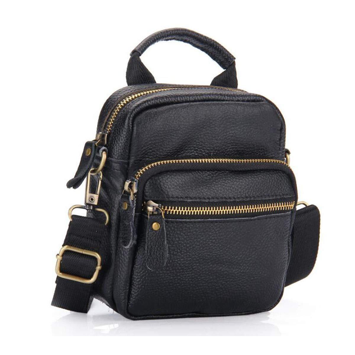 Hengxiang メッセンジャーバッグ ノートパソコン用スポーツバッグ 新しいレザー製メンズメッセンジャーバッグ メッセンジャーバッグ 旅行/仕事/学校に最適 ブラック サイズ:15618cm ビジネス オフィス メッセンジャーバッグ (カラー:ブラック)   B07PCM9L1H