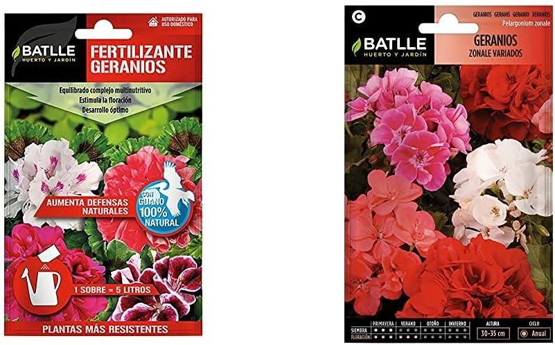 Semillas Batlle Abonos Fertilizante Geranios sobre para 5L + Semillas De Flores Geranios Zonale Variados