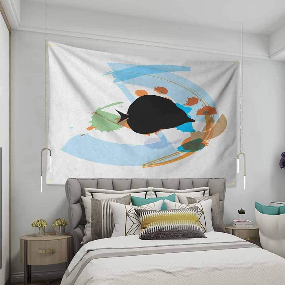 VVA Fish Simple tapestrySilhouette of a Discus Cichlid in a Partly Illustrated Bowl Cartoon in Pastel ColorsSofa Outdoor Decor Wall Hanging Multicolor