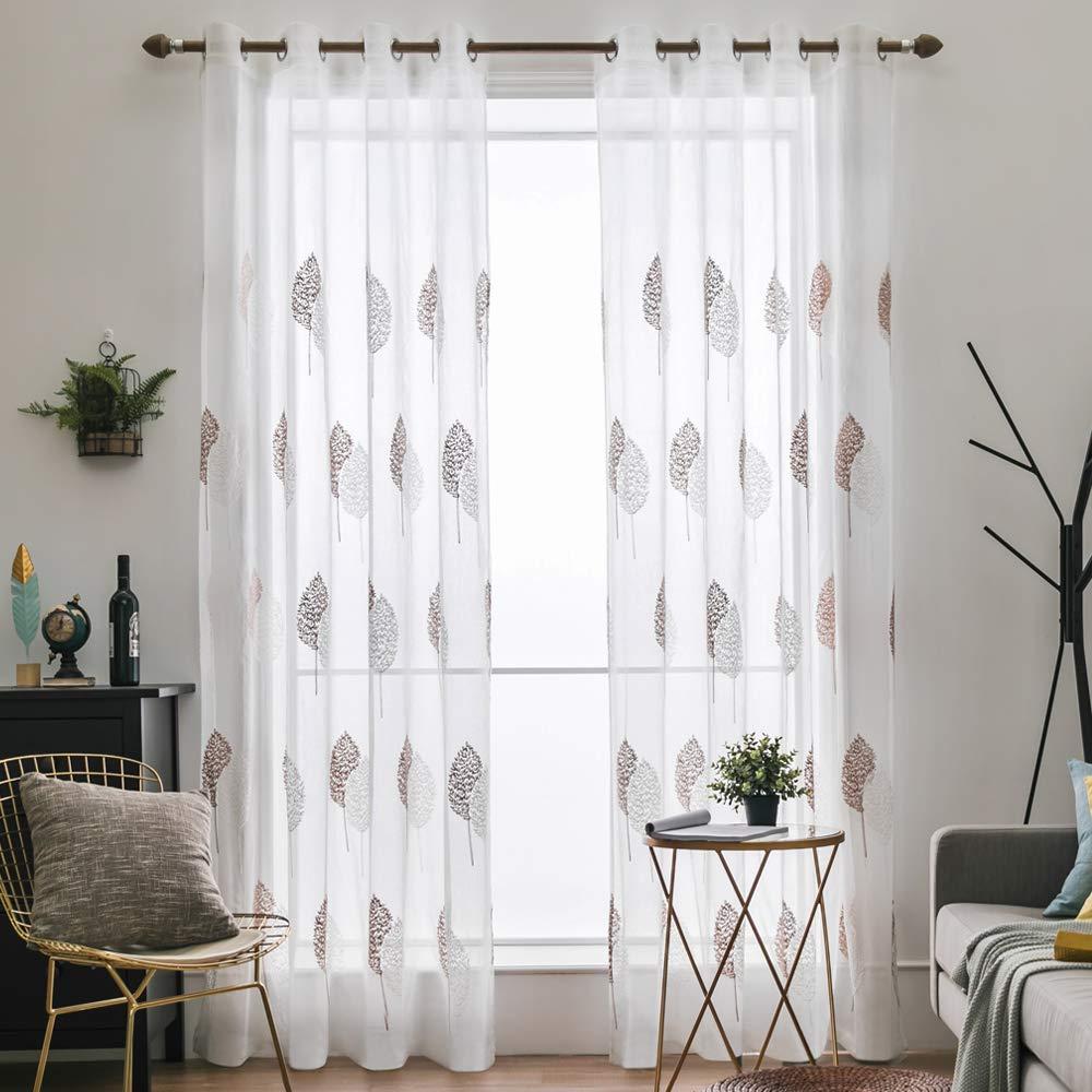 MIULEE 2 Unidades Cortinas Bordado Translucida de Dormitorio Moderno Ventana Visillos Rayas Salon Paneles con Ojales