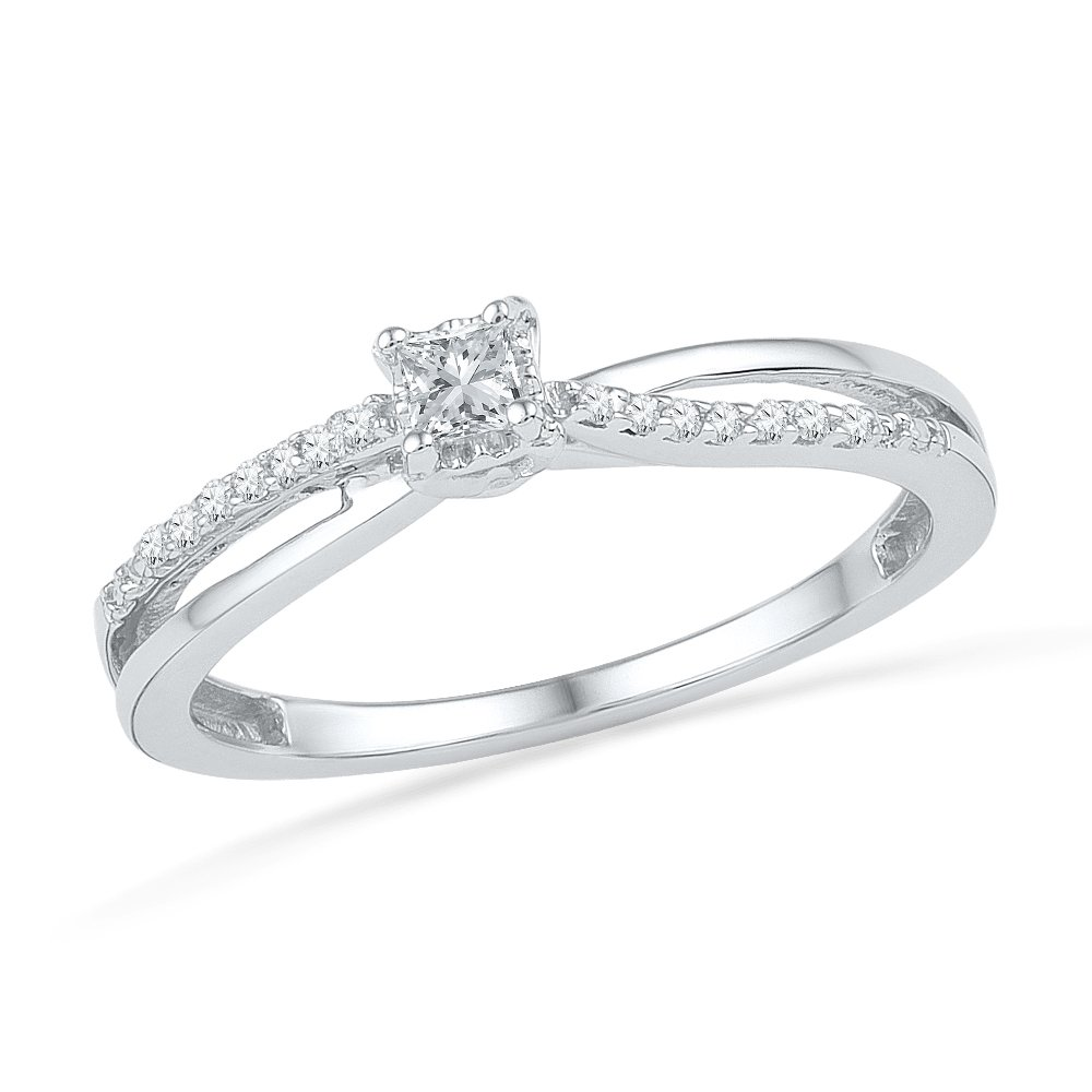 Sterling Silver Princess and Round Diamond Promise Ring (0.12 CTTW)