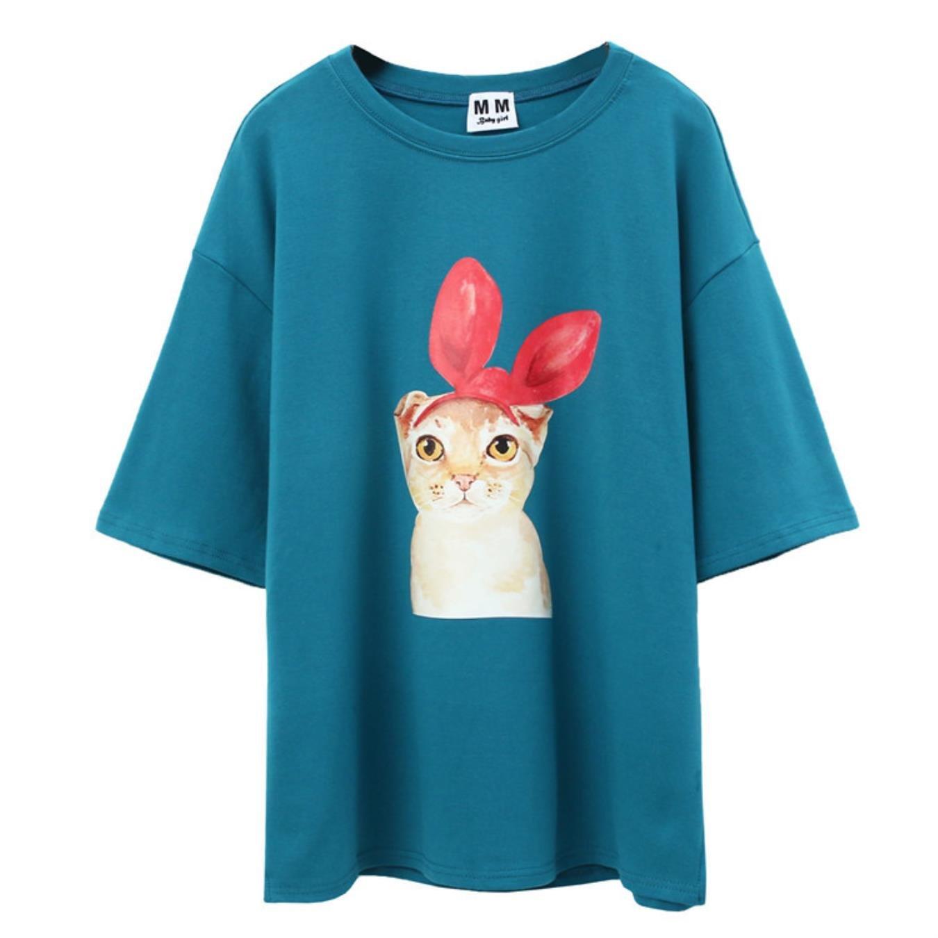 New Women Cartoon Bow Cat Printed T Shirt Sweet Girl Short Sleeve O-Neck Summer Cotton Casual Loose Top Tees
