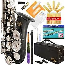 Lazarro 370-BK E-Flat Eb Alto Saxophone Black-Silver Keys with Case, 11 Reeds, Care Kit and Many Extras