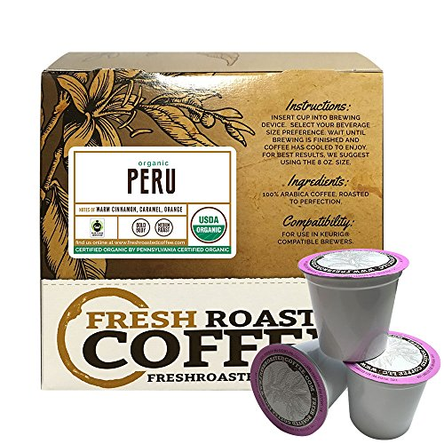 Peru Sol y Café FTO Single-Serve Cups, 18 ct. of Single Serve Capsules  for Keurig K-Cup Brewers, Fresh Roasted Coffee LLC. (Sol Cup)