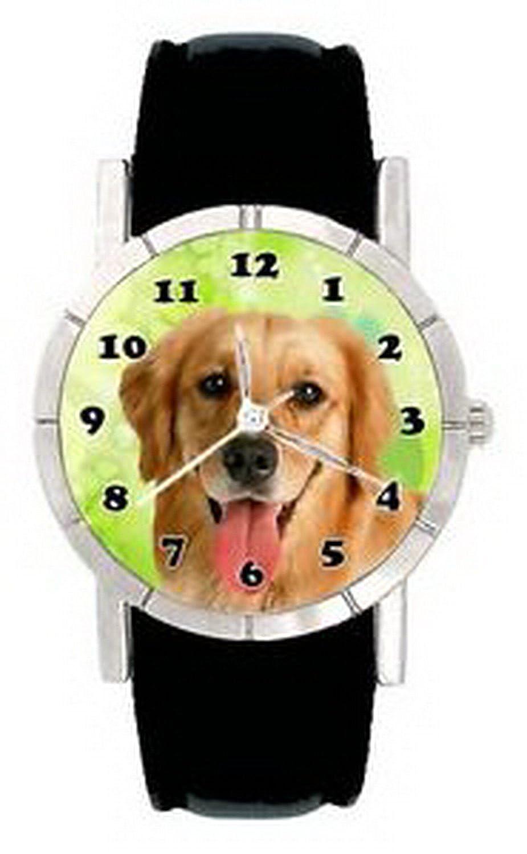 jwl1044 Smile Golden Retriever Dog Faceメンズ用レディース本革手首腕時計 B01NBL5DOG