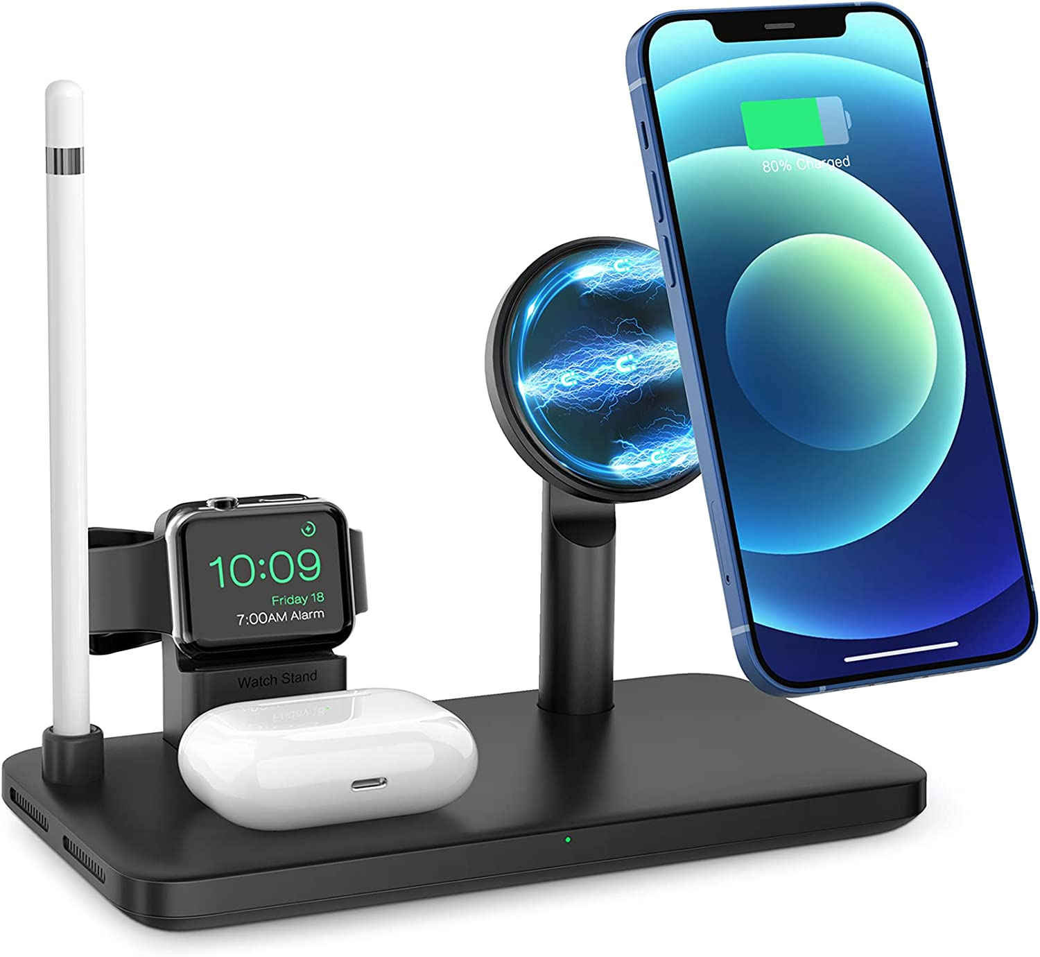 iSeneo Magnetic Wireless Charging Station - 4 in 1 Wireless Charger, Wireless Charging Stand Compatible with iPhone 12/12 Mini/12 Pro/Pro Max, iWatch 2/3/4/5/6, AirPods 2/Pro and Pencil (No Adapter)