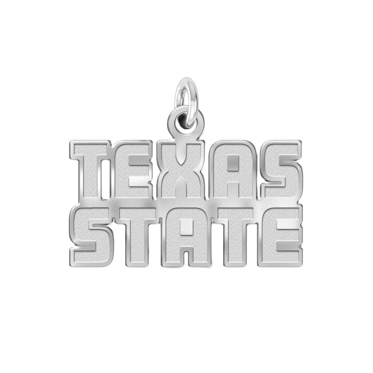 Texas State Bobcats Charm - 1/2'' Natural Finish Sterling Silver Logo