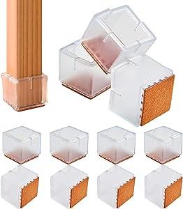 "16 PCS Chair Leg Floor Protectors,1.18"" Chair Leg Silicone Caps Square Furniture Leg Caps Table Chair Feet Protectors with Felt Pads…"