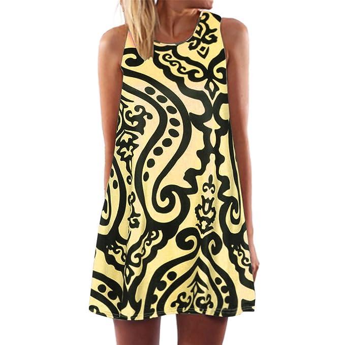 Damen Kleider Frauen Vintage Boho Sommerkleider Ärmelloses Strand Gedruckt  Kurze Minikleid A Line Abendkleid Swing Casual T-Shirt Kleid Großen Größen  ... 23847b699e