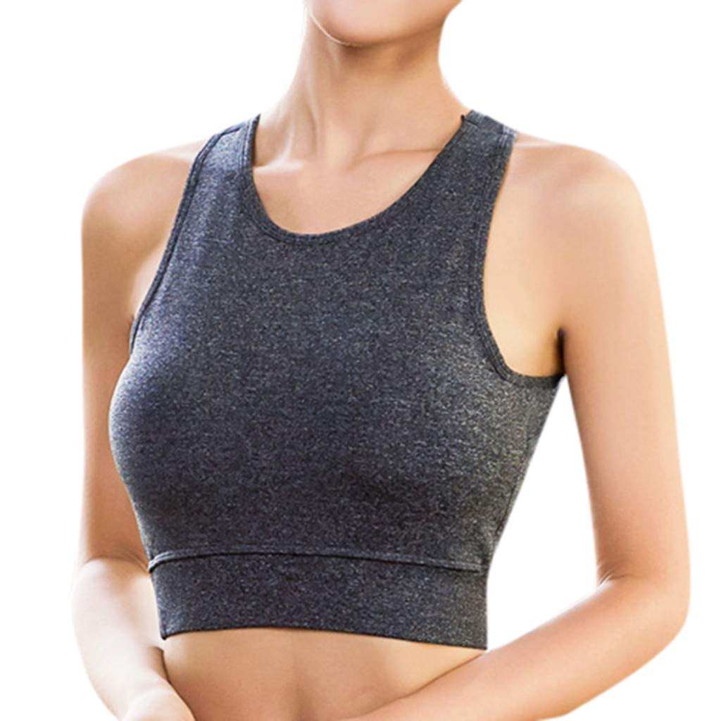 Crop Top for Women Sleeveless Solid Color Vest Sports Casual Loose Yoga Pullover Racerback Blouse (XL, Gray)