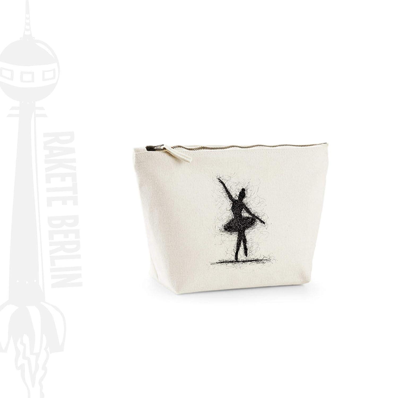 Kosmetiktasche (M)' Ballerina gezeichnet ' Baumwoll Canvas