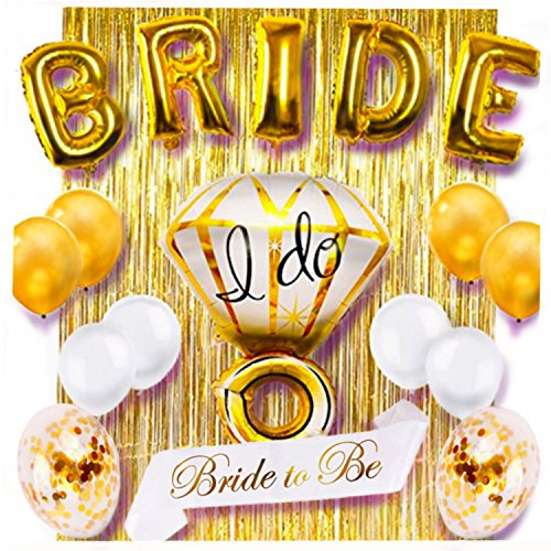 Bachelorette Party Decorations by King V Pro -Gold Bridal Shower/Bride To Be Balloons and Sash, Stunningly Beautiful Decor sets the stage for a Night to Remember, 18 piece Premium Quality Set by King V Pro