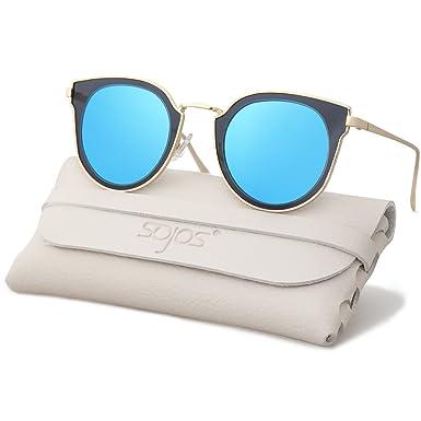 565d33553882 SOJOS Fashion Polarized Sunglasses for Women UV400 Mirrored Lens SJ1057  with Gold Frame Blue Polarized