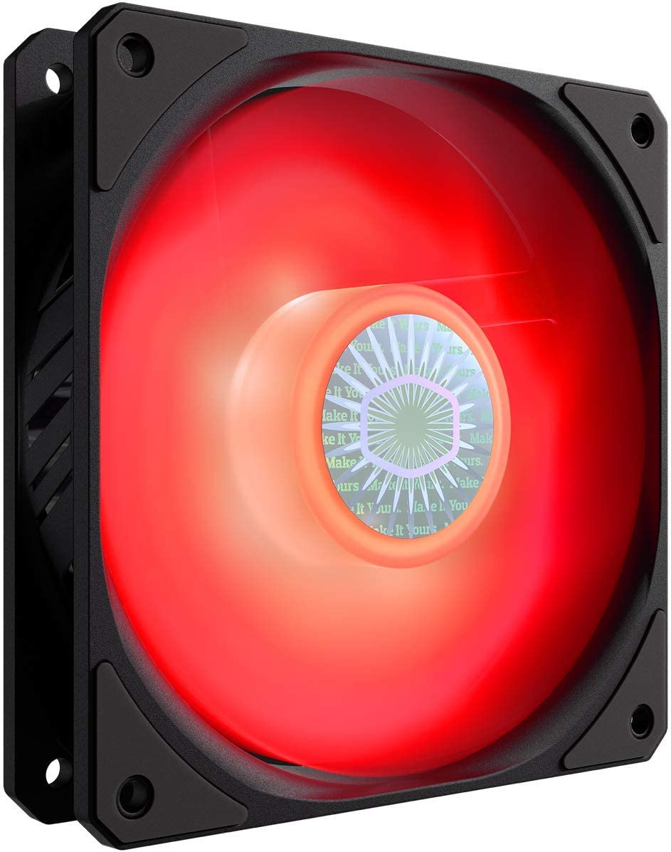Cooler Master SickleFlow 120 V2 Red Led Square Frame Fan with Air Balance Curve Blade Design, Sealed Bearing, PWM Control for Computer Case & Liquid Radiator