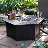 UniFlame 55-in. Decorative Slate Tile LP Gas Outdoor Fire Pit with FREE Cover For Sale