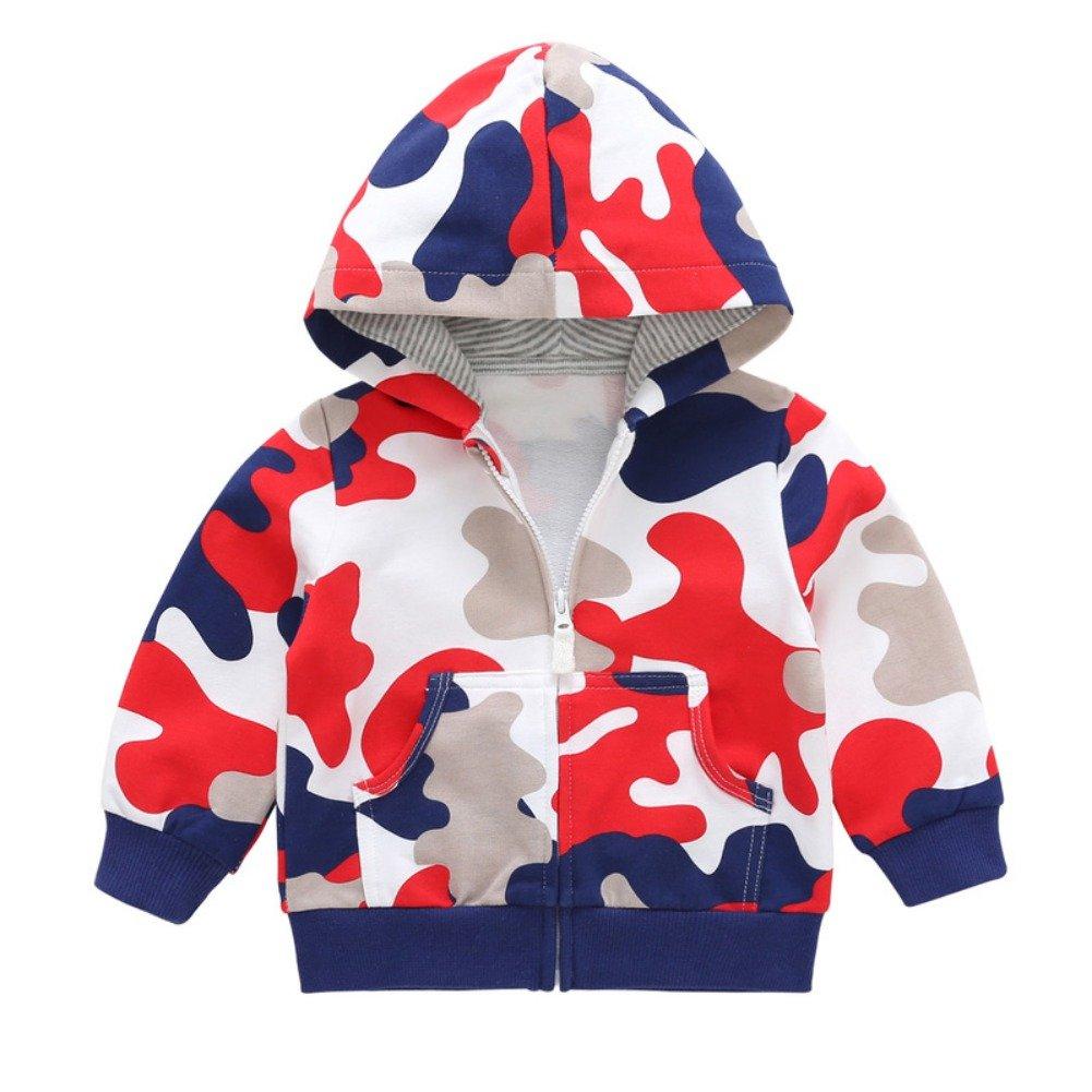Brightup Baby Kids Boys' Zip Front Jacket Hoodie Sweatshirt,Little Boy Camouflage Printed Hoodie Cotton Cardigan