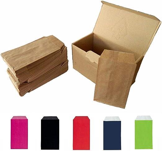 Yearol K04. 250 Sobres bolsas de papel kraft pequeñas sin asas. Especial para regalo, tiendas, comercio, joyería, bisutería, manualidades, etc. 7 cm. x 12 cm. 60 gr. Marron: Amazon.es: Oficina y papelería
