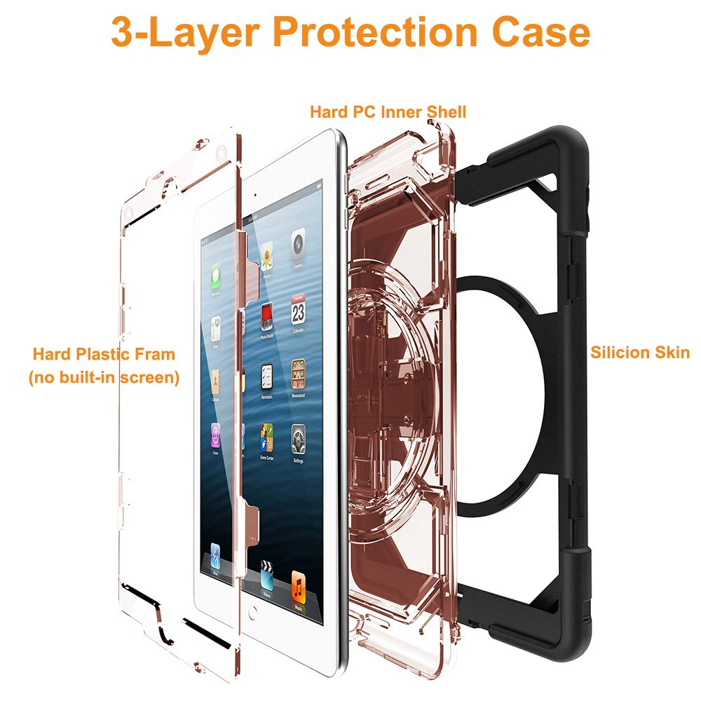 Noir FSCOVER iPad 9.7 inch 2017 2018 Coque Etui Heavy Duty Enfant Cadeau Antichoc R/ésistant Cover Protection Housse avec Support Fonction pour iPad 9.7 inch 2018 2017