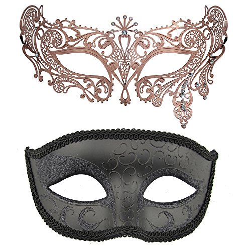 Couple's Masquerade Mask Set,Venetian Halloween Ball Prom Costumes Mask (Rose Gold+Black 1) -