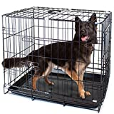 Folding Metal Pet Crate with Removable Liner by Weebo Pets (XL - 42'' x 28'' x 30'' Dual Door)