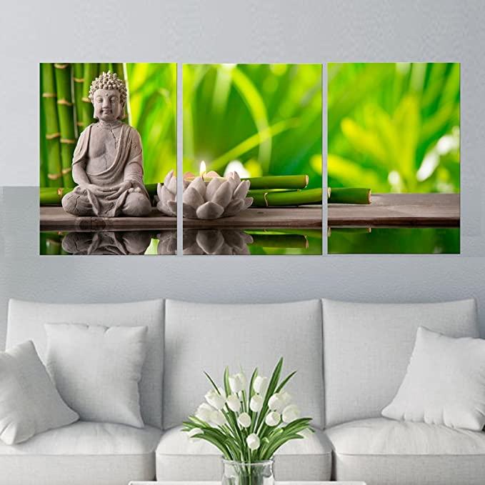Amazon com amoy art 3 panels modern buddha canvas wall art prints picture oil painting on canvas for home decorations living room ready to hang 12x16inch