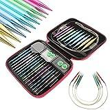 lzndeal Knitting Needle Sets13 Sizes/Set Interchangeable Aluminum Circular Knitting Needle Sets 2.75mm-10mm