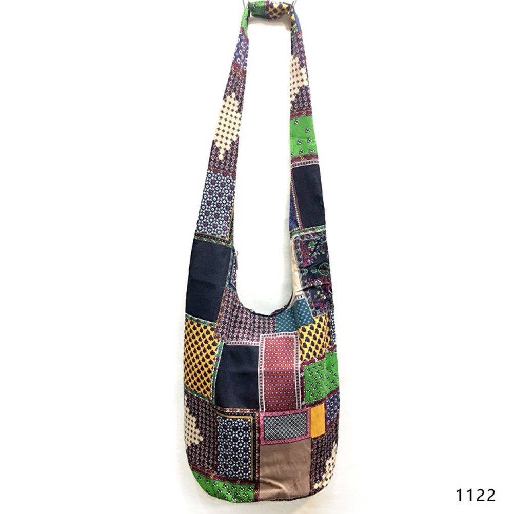 Fashion Story Women's Girls Thai Cotton Hippie Hobo Sling Crossbody Bag Messenger Purse Paisley Print