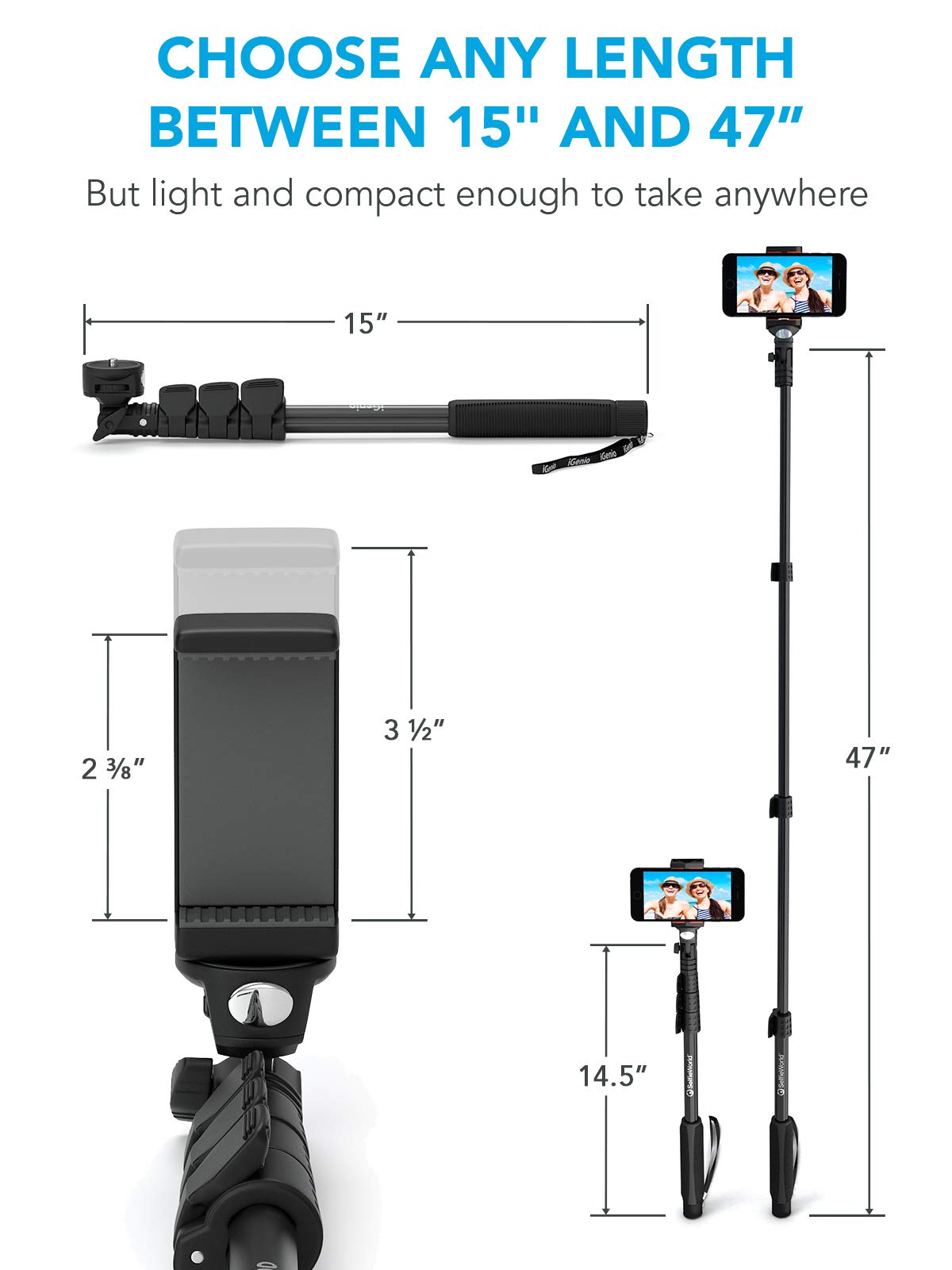 Professional 10-in-1 Monopod Selfie Stick for All GoPro Hero, Action Cameras, Cellphones, Digital Compacts with Bluetooth Remote Shutter - Extends 15''- 47'', Weatherproof Shockproof - Take It Anywhere by Selfie World (Image #5)