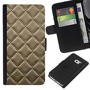Samsung Galaxy S6 EDGE SM-G925 , la tarjeta de Crédito Slots PU Funda de cuero Monedero caso cubierta de piel ( Leather Cracker Cookie Stitching Diamond Pattern)