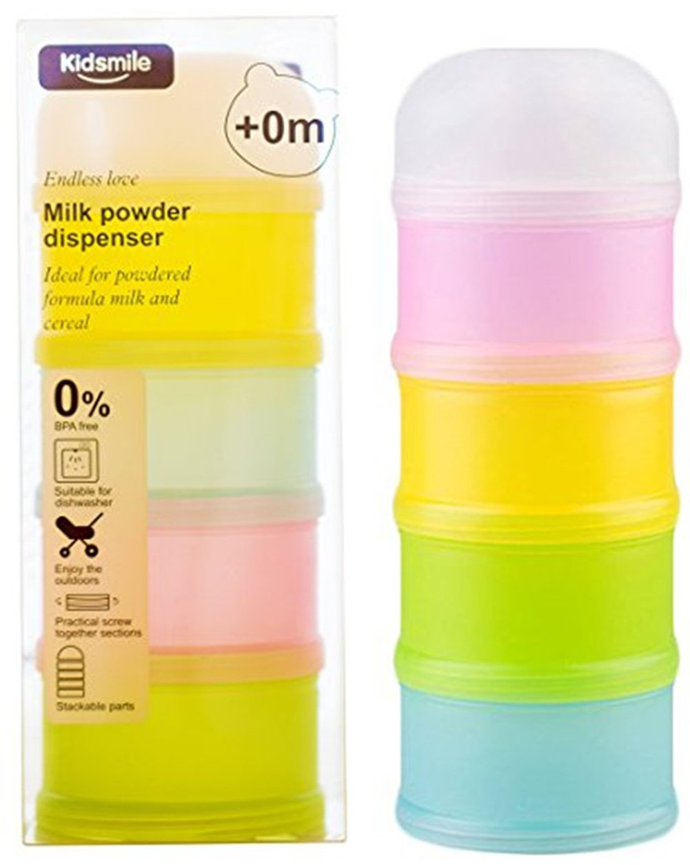 Kidsmile Non-Spill Baby Milk Powder Dispenser, On-the-Go Twist-Lock Stackable Formula Dispenser and Snack Containers, BPA Free, 4 Pack of Different Colors