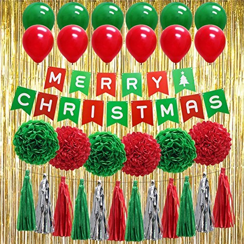 "(Christmas Red Green Party Decorations, ""Merry Christmas"" Banner Balloons Tissue Paper Pom Poms Tassel DIY Party Garland Gold Foil Fringe Curtains Photo Backdrop for Birthday)"
