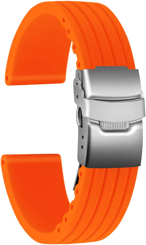 Ullchro Correa Reloj Calidad Alta Recambios Correa Relojes Caucho Stripe Pattern - 16mm, 18mm, 20mm, 22mm, 24mm Silicona Correa Reloj con Acero Inoxidable Hebilla desplegable