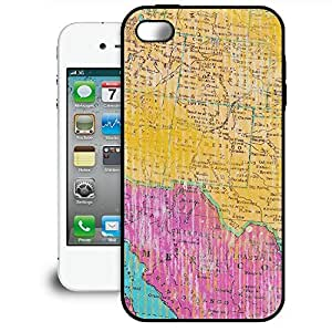Bumper Phone Case For Apple iPhone 4/4S - Painted Map Artistic Designer Back