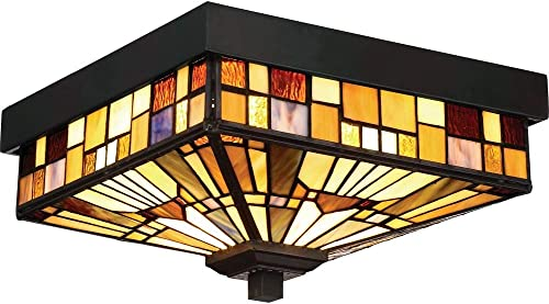 Quoizel TFIK1611VA Inglenook Outdoor Tiffany Mission Flush Mount Ceiling Lighting, 2-Light, 120 Watts, Valiant Bronze 6 H x 11 W