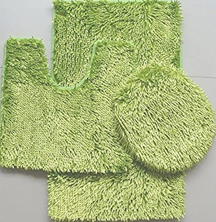 Sage 3 Piece Shiny Soft Padded Chenille Shag Bath Rug Contour Rug and Lid Cover Set