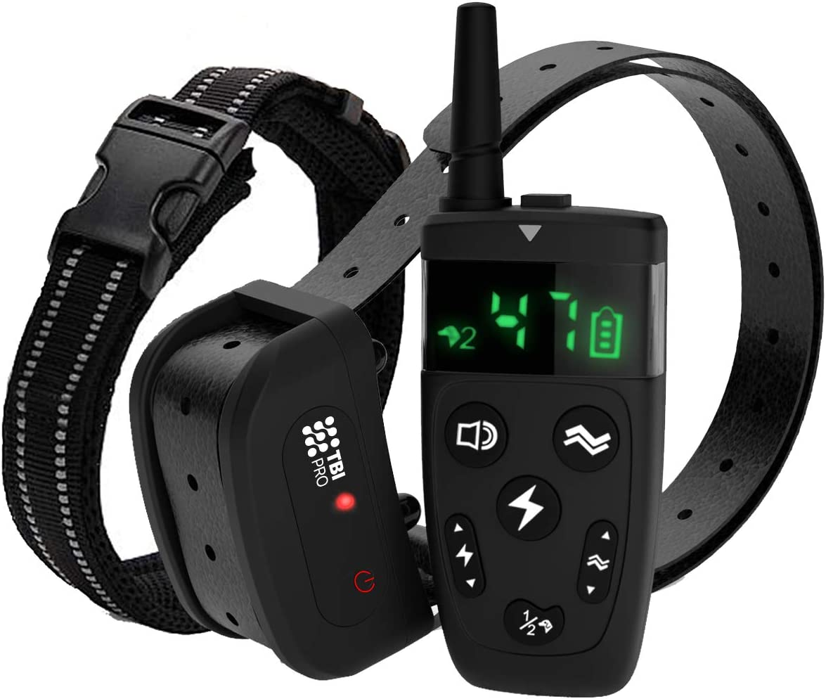 TBI Pro Dog Training Collar with Remote, Long Range 1600 , Shock, Vibration Control, Rechargeable Ipx7 Waterproof, for Small, Medium, Large Dogs, All Breeds